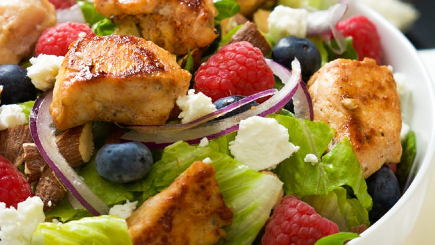 Blueberry, Goat Cheese Chicken Salad with Peanut Dijon Dressing