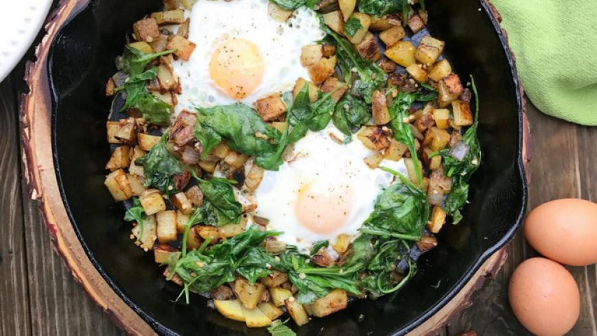 Spinach & Arugula Breakfast Hash