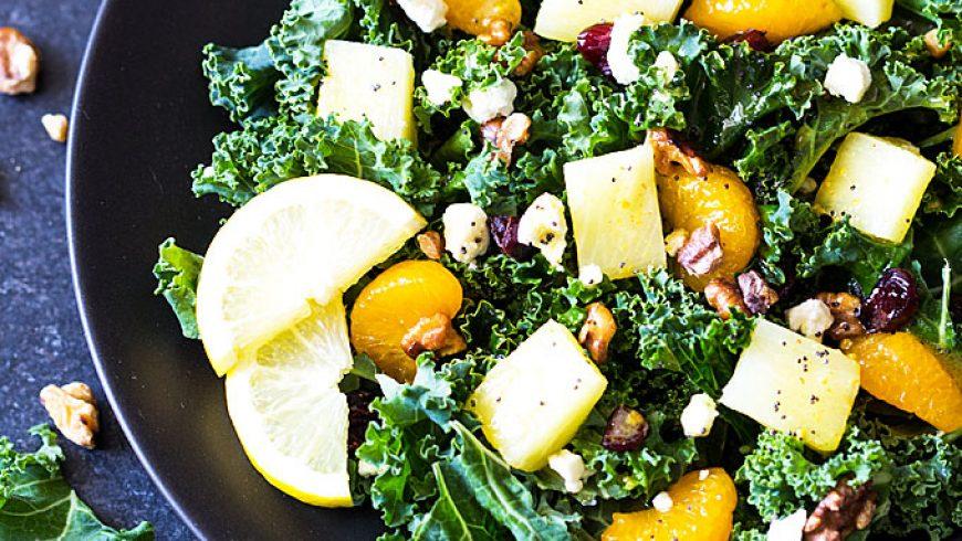 Kale and Fruit Salad with Lemon Poppyseed Vinaigrette
