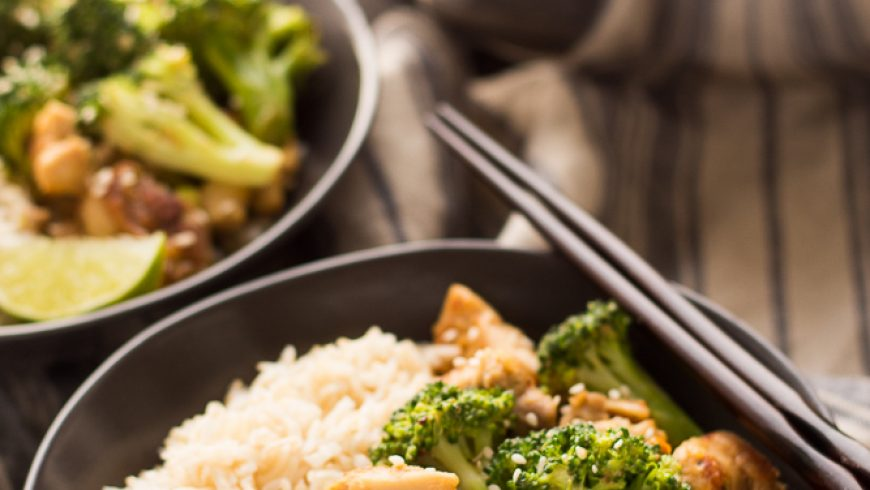 Peanut Sauce Chicken and Broccoli Bowls